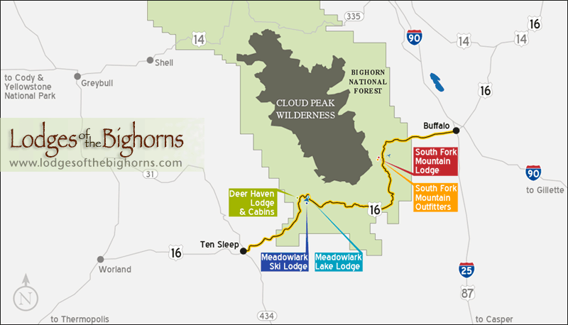 Lodges Of The Bighorns Lodging Cabins Skiing And Outfitters - Bighorn mountains map us